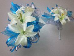 Turquoise Blue Corsage & Boutonniere Set  by FlorescenceByDesign, $26.95