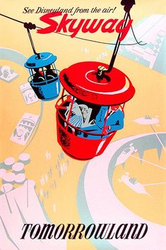 1956 Disneyland - Tomorrowland Skyway - Promotional Advertising Poster