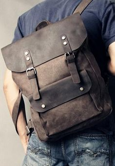 genuine leather and Canvas Rucksack / Backpack Bag