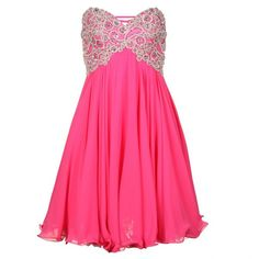 Forever Unique Womens Bubblegum Pink Strapless Dress ($155) ❤ liked on Polyvore featuring dresses, vestidos, pink, short dresses, short chiffon dress, pink dress, strapless cocktail dresses, chiffon cocktail dresses and cocktail prom dress