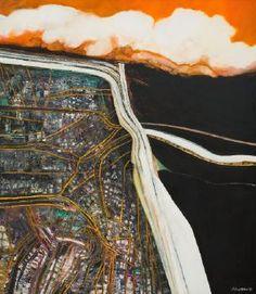 Motorway/City by Robert Ellis, Auckland Art Gallery, New Zealand Student Art Guide, Auckland Art Gallery, A Level Art, Level 3, New Zealand Landscape, Exam Papers, New Zealand Art, Nz Art, Ap Studio Art