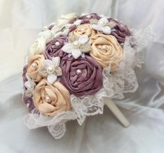 Handmade wedding bouquet -  Χειροποίητη νυφική ανθοδέσμη WBB1 via sxediagramma Maria Manousaki. Click on the image to see more!