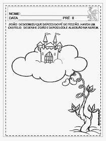 Dani Educar : Atividades João e o pé de feijão Visual Perceptual Activities, Motor Activities, Activities For Kids, Pre K Schools, Jack And The Beanstalk, Preschool Letters, Letter J, School Decorations, Kindergarten Math