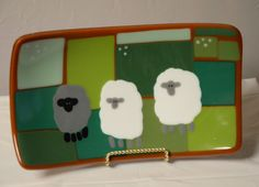Original Fused Glass Art by Cathy Thompson.  Irish Sheep.