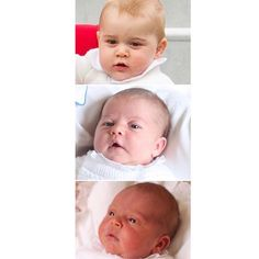 Top to bottom: Prince George, Princess Charlotte and Prince Louis