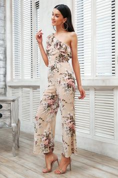 f660bc0f4806 One Shoulder Floral Print Sexy Jumpsuit
