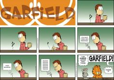 """Created by Jim Davis, Garfield is about the famous fat cat and his hilarious daily adventures with his """"pal"""" Odie and others. Garfield Cartoon, Garfield And Odie, Garfield Comics, Funny Cats, Funny Jokes, It's Funny, Pokemon, Smiles And Laughs, Best Books To Read"""