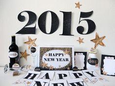 decoracion noche vieja. kit imprimible. new year printables