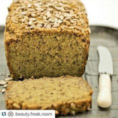 gluten free Quinoa + Chia Bread - the healthy chef - can be used for pizza (pumpkin, sundried tomatos, ricotta ) (Vegan Gluten Free Pizza) Gluten Free Baking, Gluten Free Recipes, Vegan Recipes, Quinoa Flour Recipes, Gluten Free Seed Bread Recipe, Gluten Free Sourdough Bread, Healthy Gluten Free Bread, Soup Recipes, Wheat Free Bread