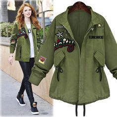 HOT LOOK! Ladies Military-Style Long-Sleeve Patch Drawstring Lightweight Bomber Jacket XL-5XL