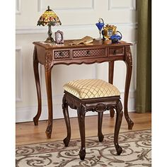 Design Toscano Princess Caroline Vanity Table in Mahogany * Check out this great product. (This is an affiliate link) Renovation Hardware, Home Bedroom, Bedroom Ideas, Princess Caroline, New Uses, Beautiful Bedrooms, Vanity Bench, Decorating Tips, Entryway Tables