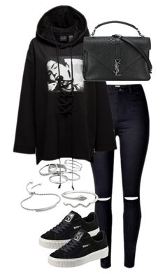 """""""Untitled #2929"""" by theeuropeancloset ❤ liked on Polyvore featuring Puma, Yves Saint Laurent, Kendra Scott and Monica Vinader"""