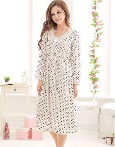 Korea C1MY Women Pajama Long Sleeve Sleep Night Dress Nightwear Sleepwear Sweet | eBay
