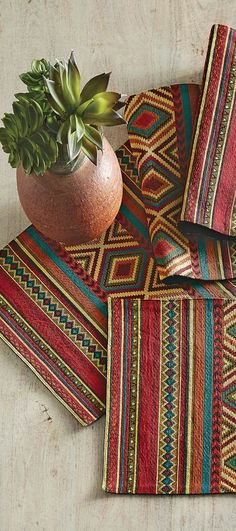 Add a welcoming western feel to your table with this cotton-poly table runner with jewel toned geometrics. Southwestern Table Runners, Southwestern Style Decor, Southwestern Decorating, Jewel Tone Decor, Sideboard Furniture, Rustic Furniture, Rustic Bedding, Decorating Blogs, Decoration