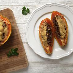 Gefüllte Papaya mit Hackfleisch