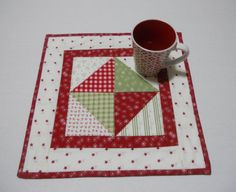 Christmas Quilted Table Topper Mini Quilt by ForgetMeNotQuilteds