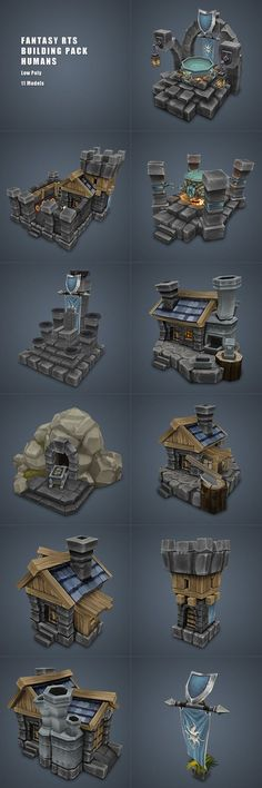 Human RTS Building Set Low Poly - 3DOcean Item for Sale: