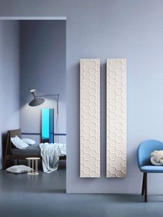 Symbol Vertical radiator: a modern radiator with a structured surface. It has a decorative effect in every ultra modern room. This vertical stylish radiator is suitable for different heating types and available in any RAL Classic colours. Contemporary Radiators, Decor, Loft Room, Contemporary Living, Modern Room, Modern, Country House Decor, Decorative Radiators, New Room