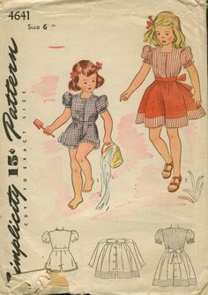 "Simplicity 4641; ca. early 1940s; Child's Playsuit and Skirt: A ""Mother and Daughter Fashion""."