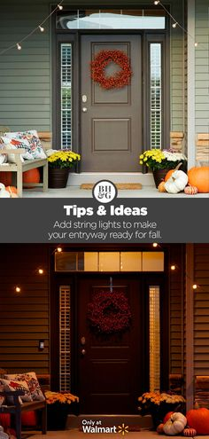 Get your front porch ready for fall with new String Lights from Better Homes & Gardens at Walmart. #fall #frontporch #outdoor #stringlights #outdoorlights #porchlights #mums #frontporchdiy #falldecor #homedecor #frontporchideas #frontporchdecor