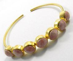fashion Pink Opal gemstone brass adjustable gift cuff bangle bracelet jewellery #Magicalcollection #Bangle