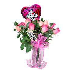 Arreglo Floral Mi Vida - $120.000 [15-20 rosas rosadas, un chocolates y Globo.]