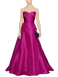 Silk Sweetheart Bow Back Gown by Monique Lhuillier