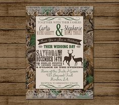 Customized Wedding Invitation, Camo, Deer, Camouflage, Couples Shower, Bridal Shower, Hunting, Redneck Wedding, 5x7 - Digital File for print...