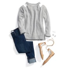 Stay on-trend this season with a cold shoulder sweater. Pair it with your go-to skinny jeans & lace-up flats for a casual, chic look.