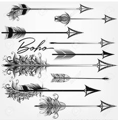Collection of vector boho arrows in bohemian swirl tribal style. Arrow Tattoos, Feather Tattoos, Mini Tattoos, New Tattoos, Tatoos, Sagittarius Tattoo Designs, Tattoo You, Tattoo Quotes, Arrow Art