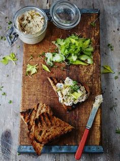 Smoked mackerel pate with griddled toast and cress salad jamie oliver Pate Recipes, Fish Recipes, Seafood Recipes, Healthy Recipes, Terrine Recipes, Watercress Recipes, Bbc Recipes, British Recipes, Scottish Recipes