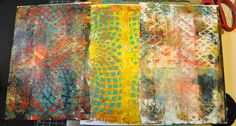 I had about an hour before I had to pick up the kids from school. Fabulous! One the great things about monoprinting with the gelli plate is how quick it is. I was able to do around three layers on each sheet.