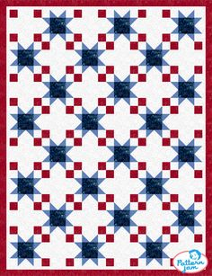 Sewing Block Quilts PatternJam - FREE Online Quilt Pattern Design Software - Patriotic III - custom quilt designed by using PatternJam quilt design software Big Block Quilts, Star Quilt Blocks, Star Quilt Patterns, Lap Quilts, Quilting Projects, Quilting Designs, Quilting Ideas, Quilt Design, Zentangle