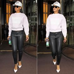 First celebrity in Alexander Wang Spring/Summer 2014 sweater, J Brand coated skinny jeans, Manolo Blahnik pumps, House of Malakai hat