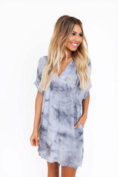 26f5ef28967 Grey Tie-Dye Dolman Dress - Dottie Couture Boutique
