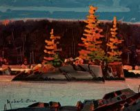 Robert Genn, artist, original landscape paintings at White Rock Gallery Late Light, Islet (Grenville Channel)