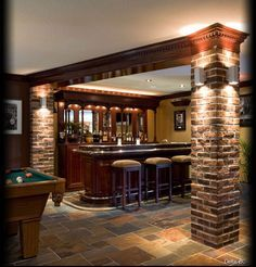 interiors with wood and stone columns - Google Search. Bringing exterior materials inside to match