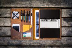 Leuchtturm1917 A4 - A4+ Leather Cover Portfolio - Crazy Horse Brown - GalenLeather - 1