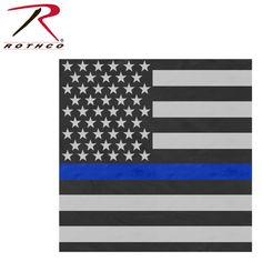 "Rothco Thin Blue Line Flag Bandana/The Thin Blue Line is a symbol of respect and support for Police and Law Enforcement Officials; show your support with the Rothco's Thin Blue Line Flag Bandana, the flag bandana measures 22"" x 22"" and is 100% cotton."
