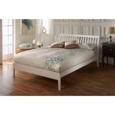 Sturdy and stylish wooden bed frame. Features a high slatted curved headboard and low foot end. Available in a quality white finish. Single x Small Double x Double x King Size x Manufactured by Limelight. Similar to Verona wooden bed frame. Wooden Double Bed Frame, White Single Bed Frame, White Wooden Bed, Wooden Bed Frames, Wooden Beds, Single Beds, Double Beds, White Painted Furniture, White Bedroom Furniture