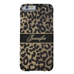 Leopard Look with Gold Glitter Barely There iPhone 6 Case. Buy this iphone 6 case and add some sparkle to your life with this beautiful glitter look artwork. Modern elegance and classy sophistication.