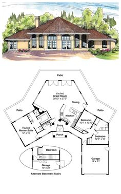 COOL House Plan ID: chp-20159 | Total living area: 1975 sq ft, 3 bedrooms & 2 bathrooms. #octogonal #houseplan