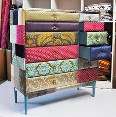 Covering a dresser in fabric.... brilliant (via namedesignstudio on etsy)