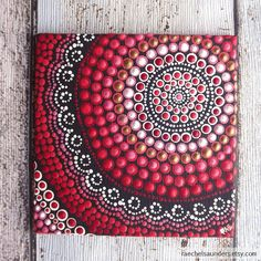 Fire Painting, Aboriginal Dot Art Painting, Acrylic paint on Canvas Board, Hand Painted Original, 10cm x 10cm, Red decor  This is an original