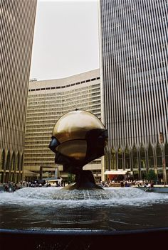 "The Plaza and Sphere"" by Fritz Koenig between the Twin Towers in the World Trade Center, New York City."