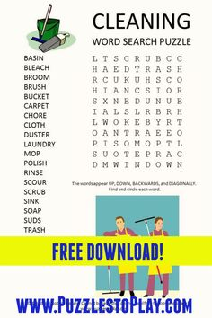 Cleaning Word Search printable puzzle. Free download for adults, students and kids who love playing word games! Printable Puzzles, Crossword Puzzles, Free Printable Worksheets, Free Printable Coloring Pages, Puzzle Games, Puzzle Books, Free Word Search Puzzles, Hidden Pictures, Classroom Games