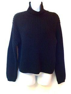 New Ralph Black RRL Lauren Turtleneck Cotton LS Loose Knit Sweater Heavy M