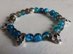 Aqua and Coffee glass beads with silver alloy Skulls £9.00