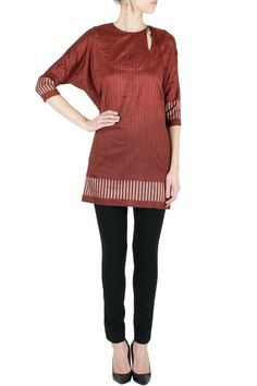 Madder silk ikat boxy tunic by ABRAHAM & THAKORE. Shop now at perniaspopupshop.com