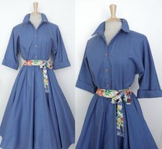 Vintage 80s does 50s Cornflower Blue Cotton Shirtwaist Swing Fit n Flare Dress by GGMMVintage on Etsy,